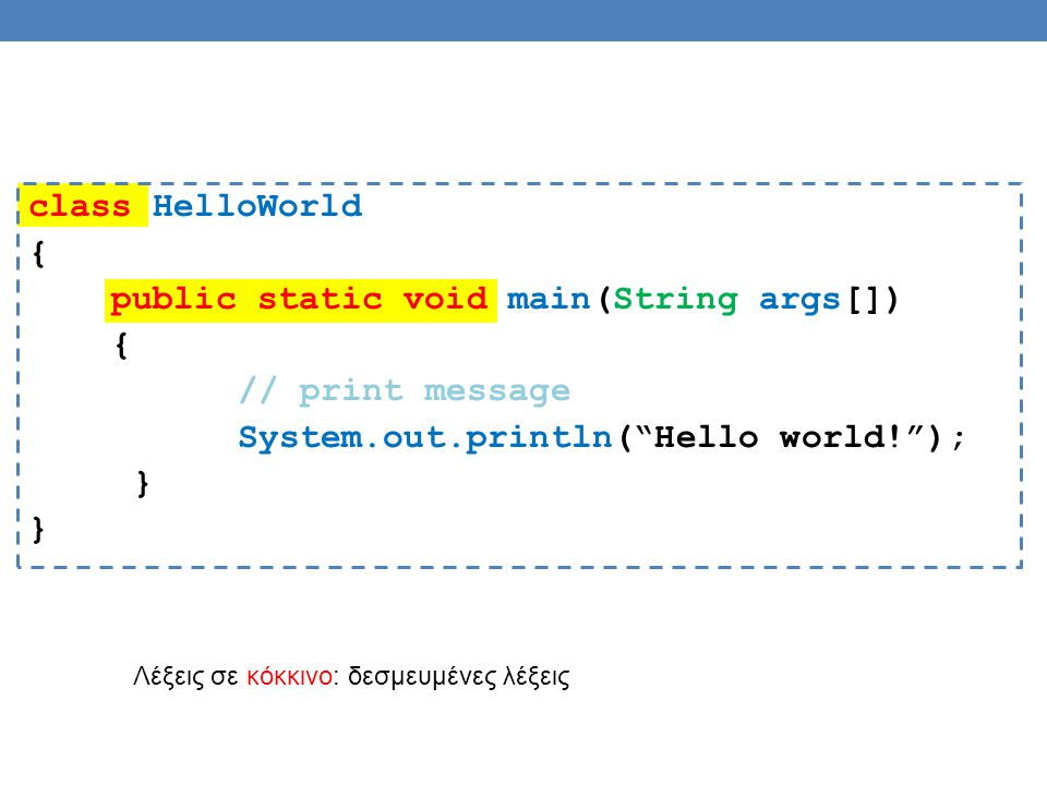 class HelloWorld { public static void main(String args[]) // print message System.out.println( Hello world! ); }